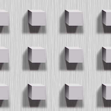 Papel de Parede 3D Cubos Cinza / Lilás 10 Metros