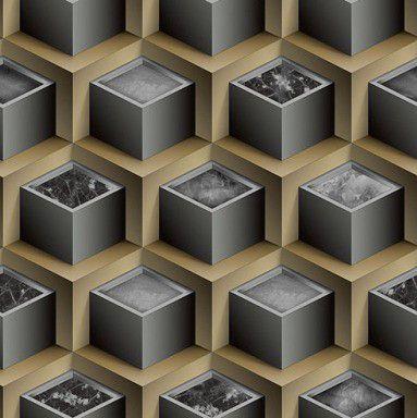 Papel de Parede 3D cinza e bege,  0,53cm x 10,00m