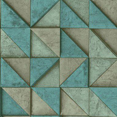 Papel de Parede 3D Geométrico Verde, 0,53cm x 10,00m
