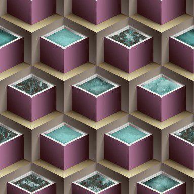 Papel de Parede 3D geométrico lilás e bege, emborrachado, texturizado e lavável.