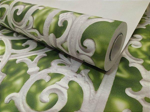 Papel de Parede 3D Portão Verde e branco 10 Metros
