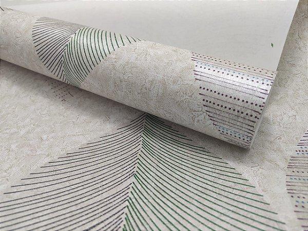 Papel de Parede Folhagens Textura Bege 10 Metros
