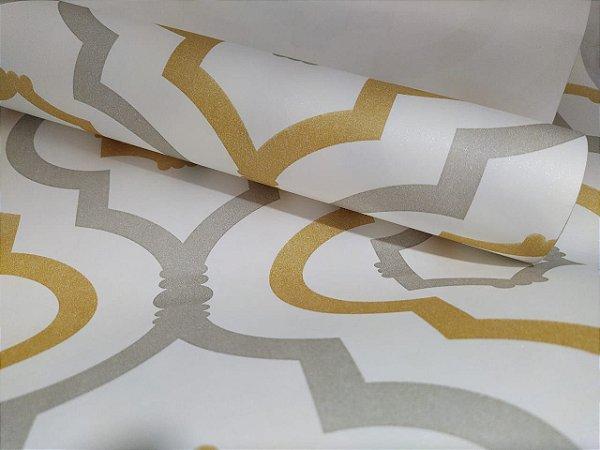 Papel de Parede Geométrico Amarelo e Cinza 10 Metros
