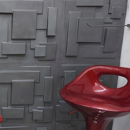 Placa 3D Adesiva 50X50 Preta Cidades