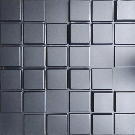 Placa 3D Adesiva 50X50 Preta Pixel