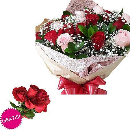 PROMOÇÃO Buquê de 12 Rosas Amor e Emoções + 6 ROSAS GRÁTIS (Total 18)