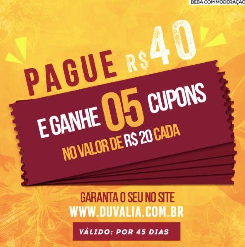5 CUPONS DE R$20,00 POR 40,00