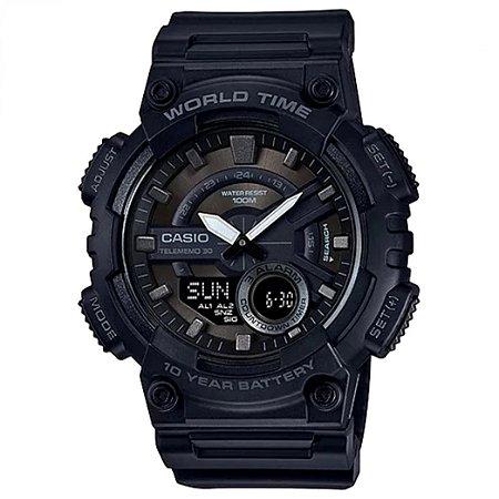 Relógio Casio World Time AEQ-110W Masculino Original 10ATM