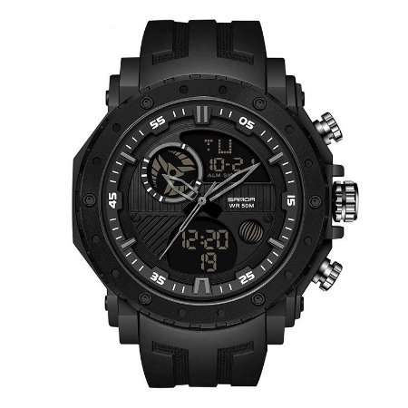 Relógio Militar de Luxo Sanda Double Army 6012 Original À Prova D'àgua