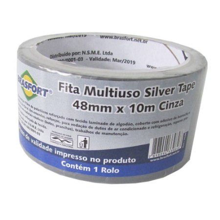 FITA SILVER TAPE 48MMx10M CINZA 7548 BRASFORT