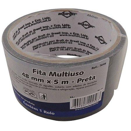 FITA SILVER TAPE 48MMX5M PRETA 7646 BRASFORT