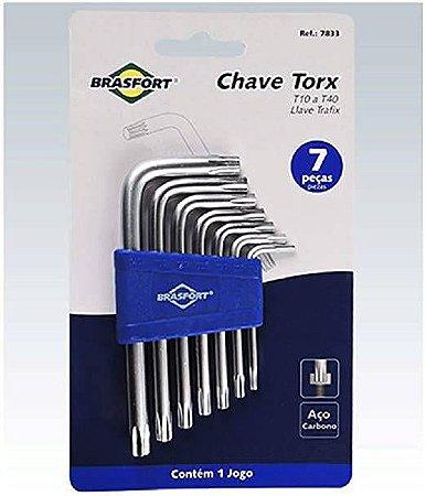 CHAVE TORX T10AT40 COM 07 PECAS 7833 BRASFORT