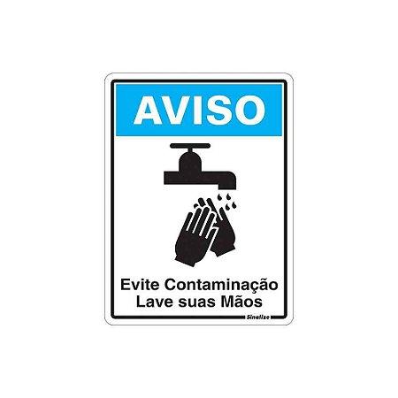"""PLACA SINALIZAÇÃO POLIESTIRENO 15X20 """"AVISO LAVE AS MAOS"""""""