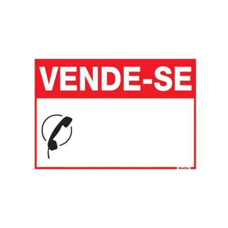 """PLACA SINALIZAÇÃO PVC 20X30 """"VENDE-SE"""" SINALIZE"""