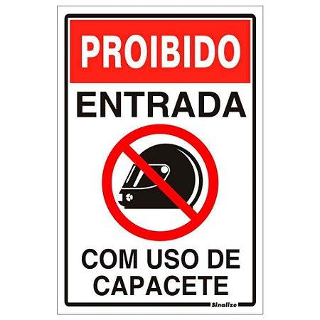"""PLACA SINALIZAÇÃO PVC 20X30 """"PROIBIDO USO DE CAPACETE"""" SINALIZE"""