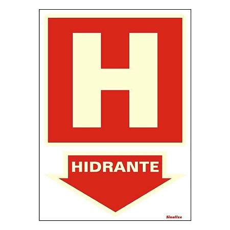 """PLACA SINALIZAÇÃO PVC FLUORESCENTE 20X30 """"HIDRANTE"""" SINALIZE"""