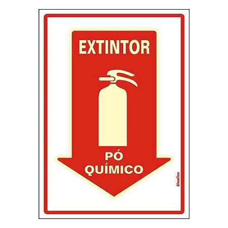 """PLACA SINALIZAÇÃO PVC FLUORESCENTE 20X30 """"EXTINTOR PO QUIMICO"""" SINALIZE"""