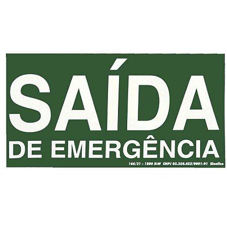 """PLACA SINALIZAÇÃO PVC FLUORESCENTE 15X30 """"SAIDA EMERGENCIA"""" SINALIZE"""