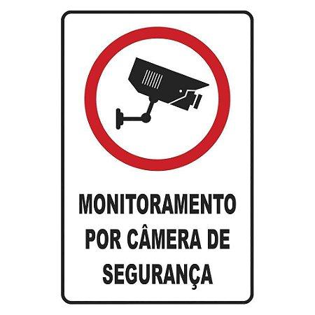 """PLACA SINALIZAÇÃO POLIESTIRENO 20X30 """"MONITORAMENTO POR CAMERA DE SEGURANCA"""" SINALIZE"""
