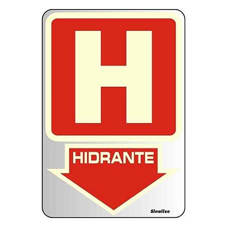 """PLACA SINALIZACAO ALUMINIO FLUORESCENTE 16x23 """"HIDRANTE"""" SINALIZE"""