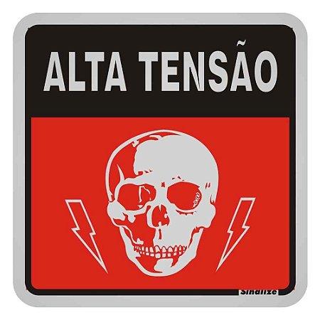 "PLACA SINALIZACAO ALUMINIO 12x12 ""ALTA TENSAO"" SINALIZE"