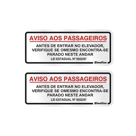 """PLACA SINALIZACAO ALUMINIO 06x15 """"AVISO ELEVADOR"""" 2 PECAS SINALIZE"""