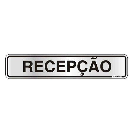 """PLACA SINALIZACAO ALUMINIO 05x25 """"RECEPCAO"""" SINALIZE"""
