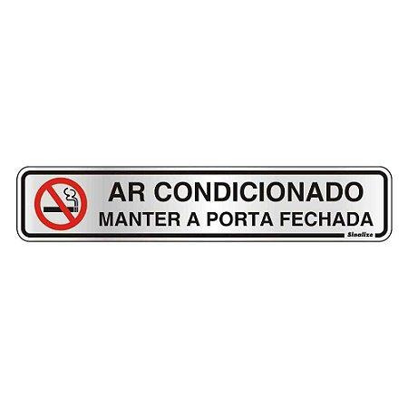 """PLACA SINALIZACAO ALUMINIO 05x25 """"AR CONDICIONADO"""" SINALIZE"""