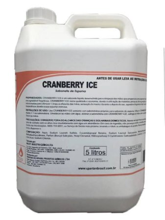 SABONETE LÍQUIDO 5L. ESPUMA CRANBERRY ICE SPARTAN