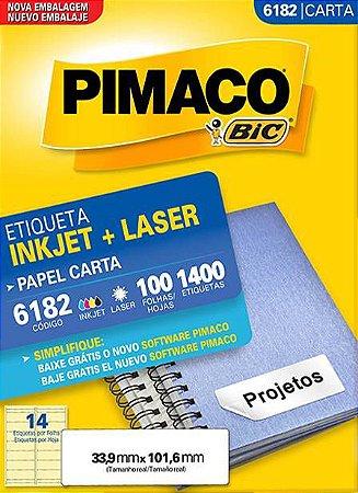 ETIQUETA PIMACO 6182 - ETIQUETAS 33,9 X 101,6 (100 FLS X 14 UNID.)