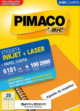 ETIQUETA PIMACO 6181 - ETIQUETAS 25,4 X 101,6 (100 FLS X 20 UNID.)