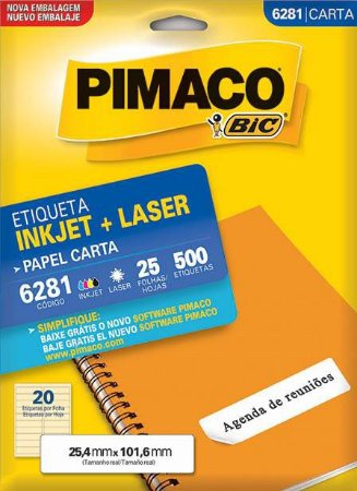 ETIQUETA PIMACO 6281 - ETIQUETAS 25,4 X 101,6 (25 FLS X 20 UNID.)(2777)