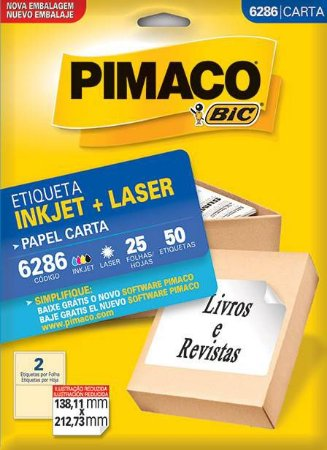 ETIQUETA PIMACO 6286 - ETIQUETAS 138,11 X 212,73 (25 FLS X 2 UNID.)(4048)