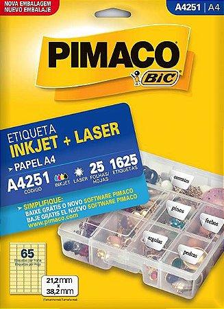 ETIQUETA PIMACO A4251 - ETIQUETAS 21,2 X 38,2 (25 FLS X 65 UNID.)