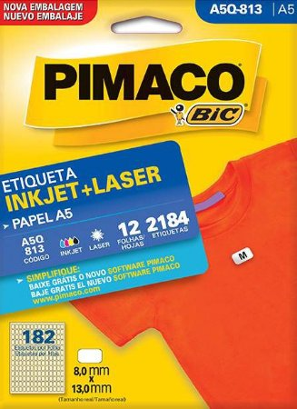 ETIQUETA PIMACO A5Q 813 - ETIQUETAS 8 X 13 (12 FLS X 182 UNID.)