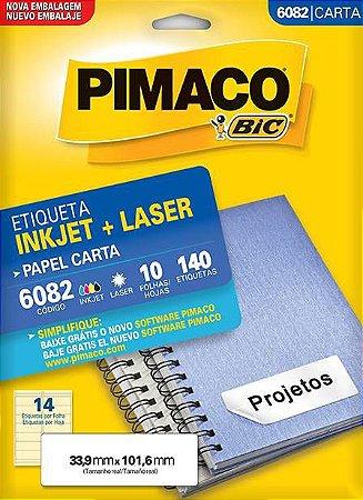ETIQUETA PIMACO 6082 - ETIQUETAS 33,9 X 101,6 (14 FLS X 14 UNID.)