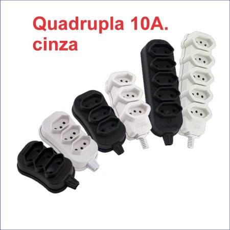 TOMADA EM BARRA QUADRUPLA CINZA 10A 2P+T