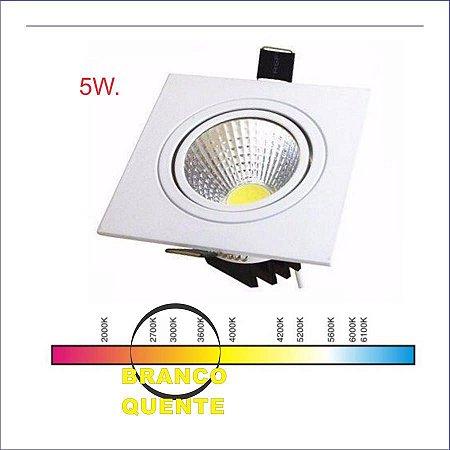 SPOT LED QUADRADO 05W BQ 3000K COB POWER