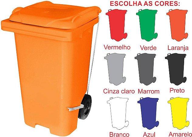LIXEIRA CONTENTOR PLÁSTICO QUADRADO 240L. C/PEDAL C/RODAS ALT. C240P JSN