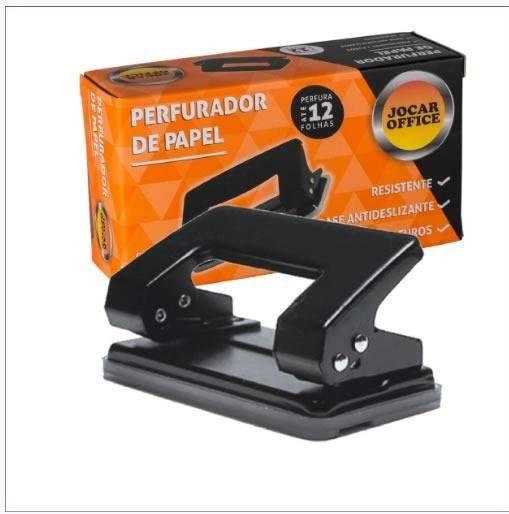 PERFURADOR DE PAPEL 02 FUROS P/12FLS PRETO 93019 JOCAR