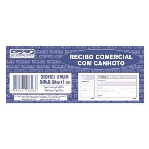 RECIBO COMERCIAL C/CANHOTO C/50FL. SÃO DOMINGOS