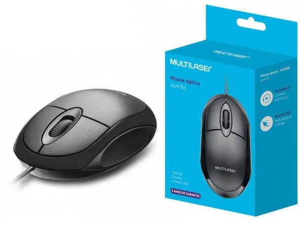 MOUSE USB OPTICO PRETO MO300 MULTILASER