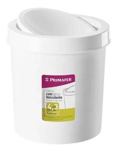 LIXEIRA PLASTICA 4,3L TAMPA BASCULANTE BRANCA PRIMAFER