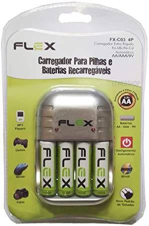 CARREGADOR PILHA AA/AAA/9V BIVOLT C/4 PILHAS FX-C03 FLEXGOLD