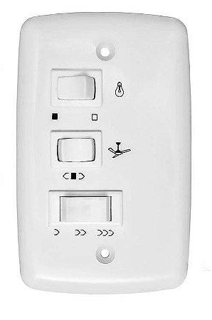 CONTROLE VENTILADOR TETO 3 VELOCID. 220V. P/1 LAMPADAS(5+2,5uF) TRIO(08-02)