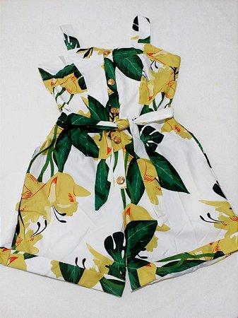 Macaquinho Floral com cinto tam P