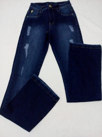 Calça Jeans escuro Flare, tam 38 com puidos.