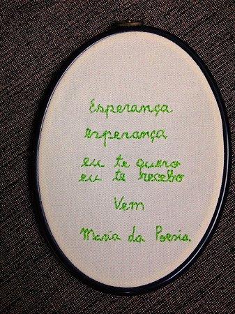 Bordado exclusivo Valeria Rezende - ESPERANÇA verde
