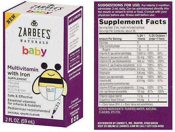 Suporte Imunológico para bebês e crianças - Vitaminas e Minerais - Zarbee's Naturals