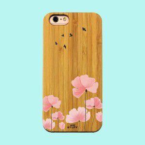 """Capa para Celular """"Case"""" Flores e Andorinhas Bambu"""